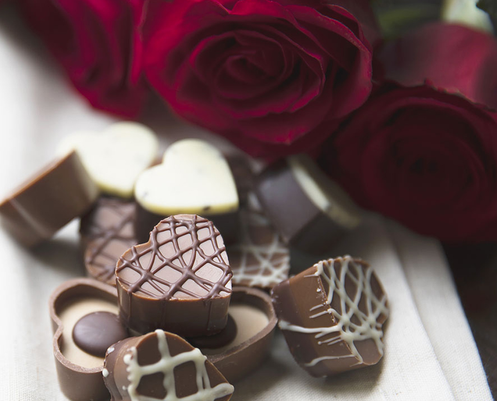 Roses and Chocolate Hearts